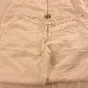 Bright white flowy linen pants, never worn size M